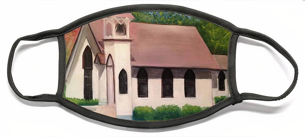 Little White Church Face Mask featuring the painting Little White Church by Sheila Mashaw