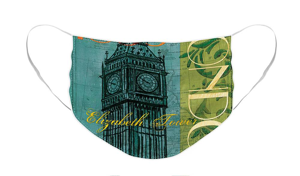 London Face Mask featuring the painting London 1859 by Debbie DeWitt