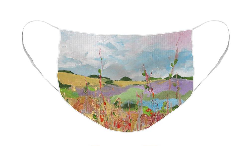 Art Face Mask featuring the painting Love The Backcountry by Linda Monfort