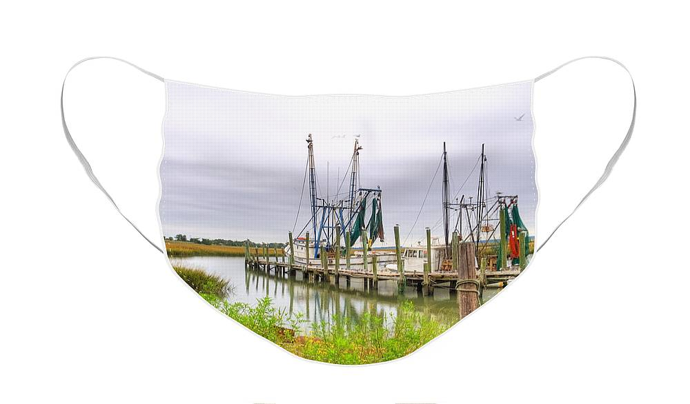 Shrimp Boat Face Mask featuring the photograph Lowcountry Shrimp Dock by Scott Hansen