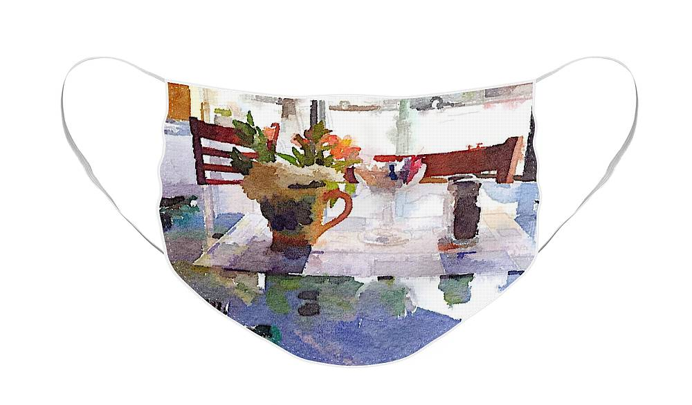 Waterlogue Face Mask featuring the digital art Lunch With Girls by Shannon Grissom