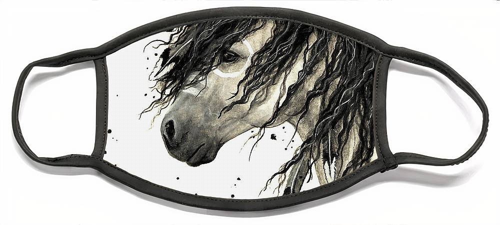 Mustang Horse Art Face Mask featuring the painting Majestic Grey Spirit Horse #44 by AmyLyn Bihrle