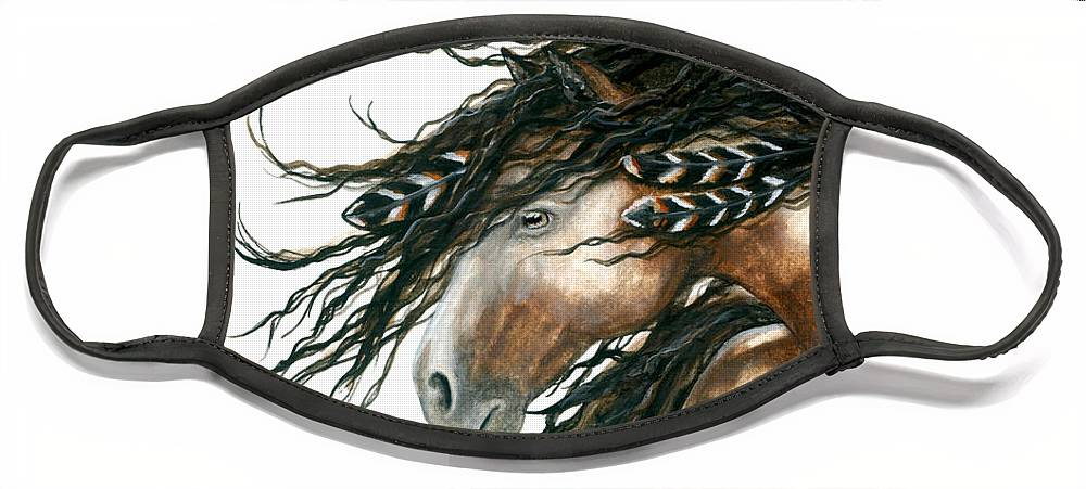 Horse Face Mask featuring the painting Majestic Pinto Horse 80 by AmyLyn Bihrle
