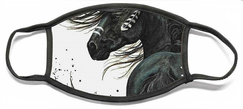 Mm65 Face Mask featuring the painting Majestic Spirit Horse I by AmyLyn Bihrle