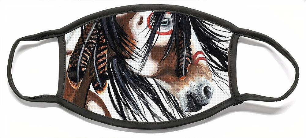 Horse Artwork Face Mask featuring the painting Majestic Pinto horse by AmyLyn Bihrle