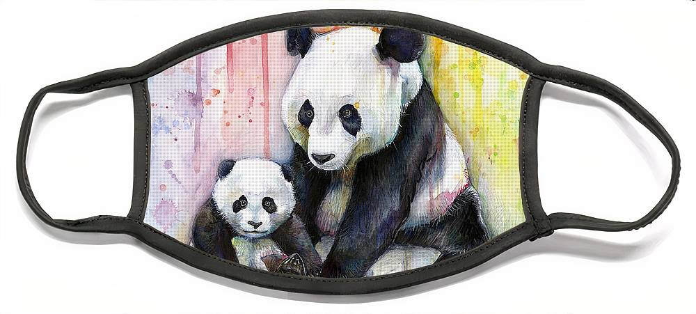 Watercolor Face Mask featuring the painting Panda Watercolor Mom and Baby by Olga Shvartsur