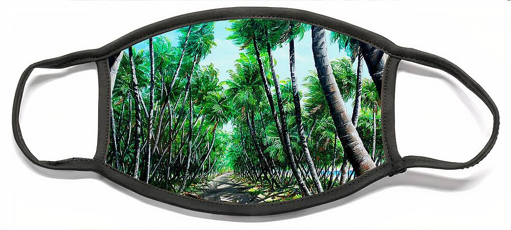 Coconut Trees Face Mask featuring the painting Manzanilla Coconut Estate by Karin Dawn Kelshall- Best