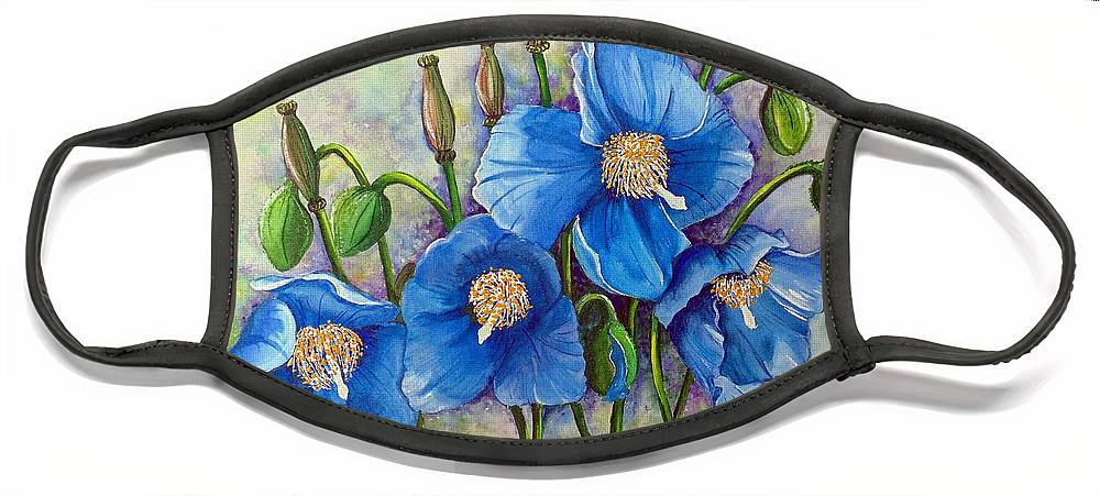 Blue Hymalayan Poppy Face Mask featuring the painting MECONOPSIS  Himalayan Blue Poppy by Karin Dawn Kelshall- Best