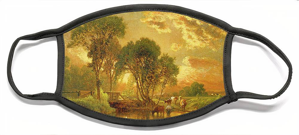 Inness Face Mask featuring the painting Medfield Massachusetts by Inness