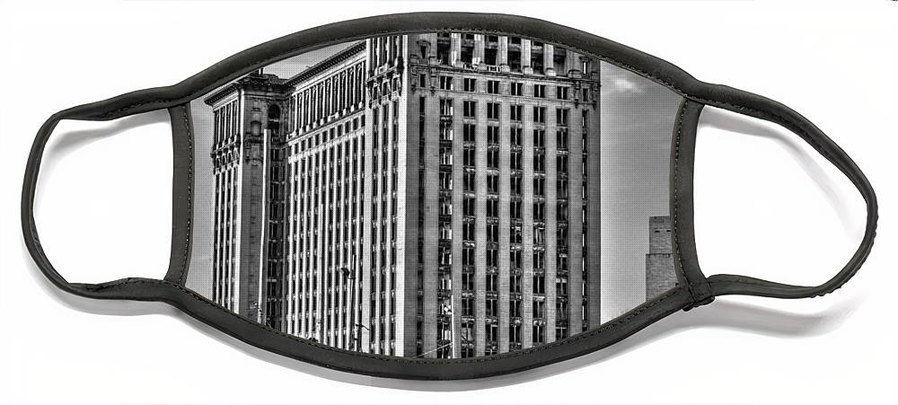 Michigan Central Face Mask featuring the photograph Michigan Central Station by Nicholas Grunas