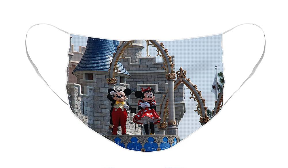 Walt Disney World Face Mask featuring the photograph Mickey And Minnie In Living Color by Rob Hans