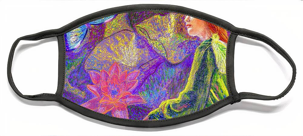 Abstract Face Mask featuring the painting Meditation, Moment of Oneness by Jane Small