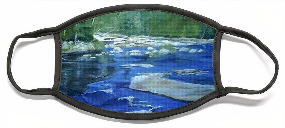Moose River Face Mask featuring the painting Moose River Lyons Falls by Sheila Mashaw