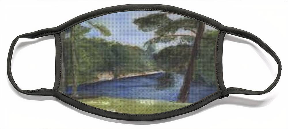 Moose River Face Mask featuring the painting Moose River by Sheila Mashaw