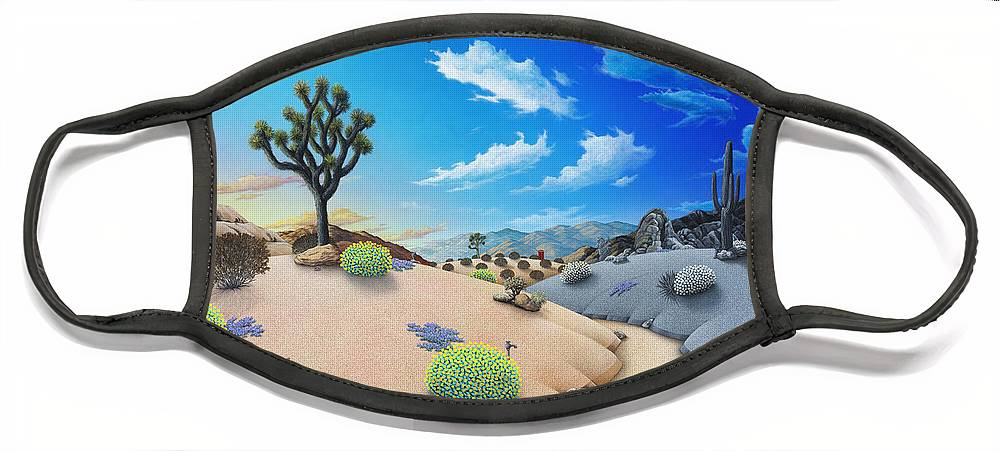 Joshua Tree Face Mask featuring the painting Joshua Tree morning to night by Snake Jagger