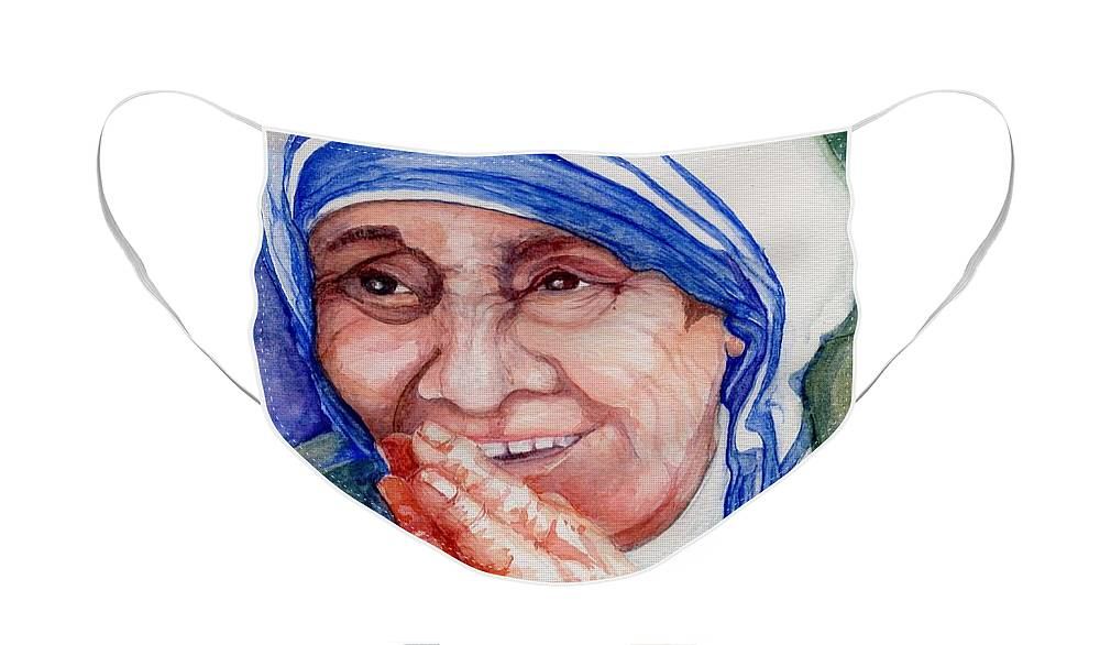 Elle Fagan Face Mask featuring the painting Mother Teresa by Elle Smith Fagan