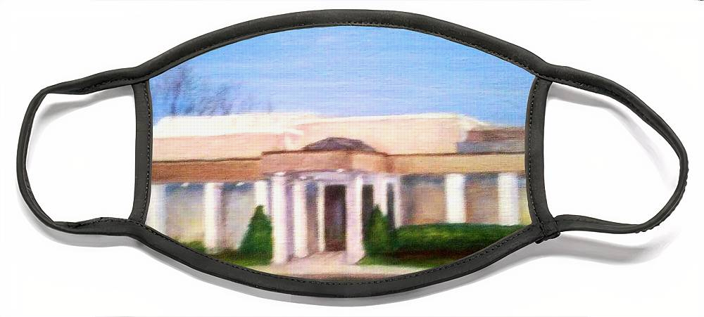 Mount Laurel Face Mask featuring the painting Mount Laurel Library by Sheila Mashaw