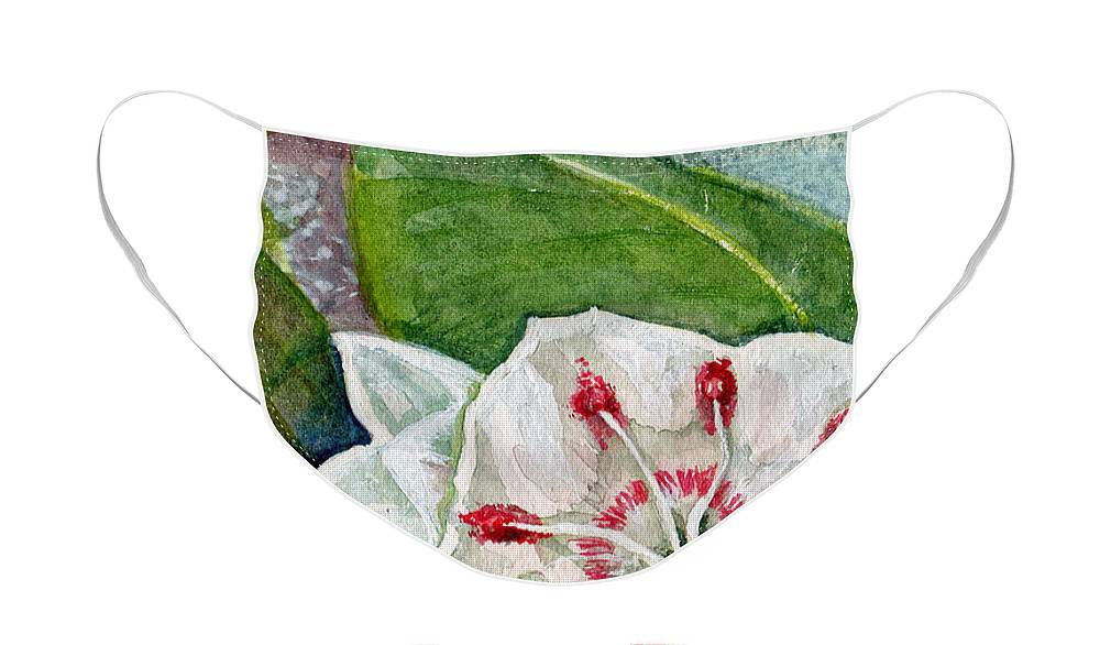 Art Face Mask featuring the painting Mountain Laurel Blossom by Elle Smith Fagan