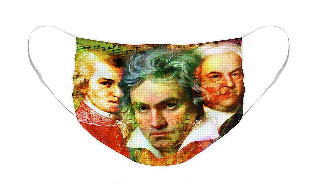 Wingsdomain Face Mask featuring the photograph Mozart Beethoven Bach 20140128 by Wingsdomain Art and Photography