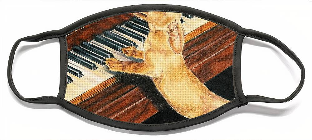 Purebred Dog Face Mask featuring the drawing Mozart's Apprentice by Barbara Keith