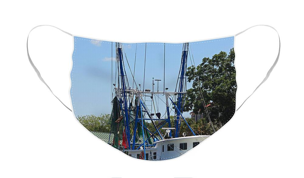Shrimp Boat Face Mask featuring the photograph Mrs Judy Too II by Suzanne Gaff