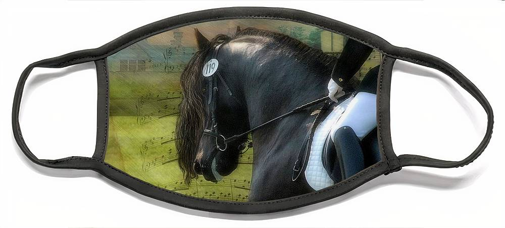 Friesian Horses Face Mask featuring the digital art Musical Freestyle by Fran J Scott