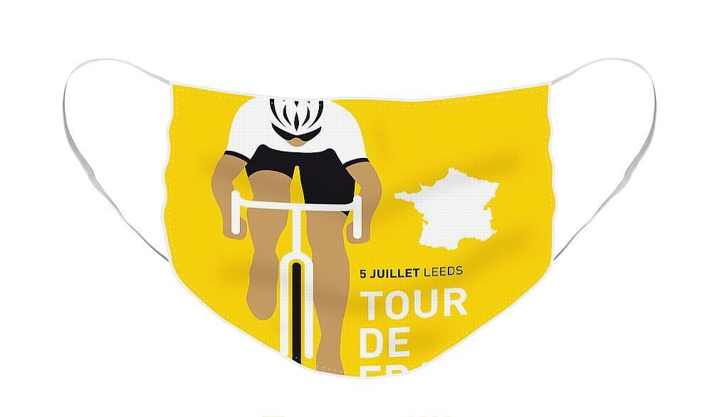 Minimal Face Mask featuring the digital art My Tour De France Minimal Poster 2014 by Chungkong Art