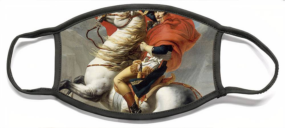 Napoleon Face Mask featuring the painting Napoleon Bonaparte on Horseback by War Is Hell Store