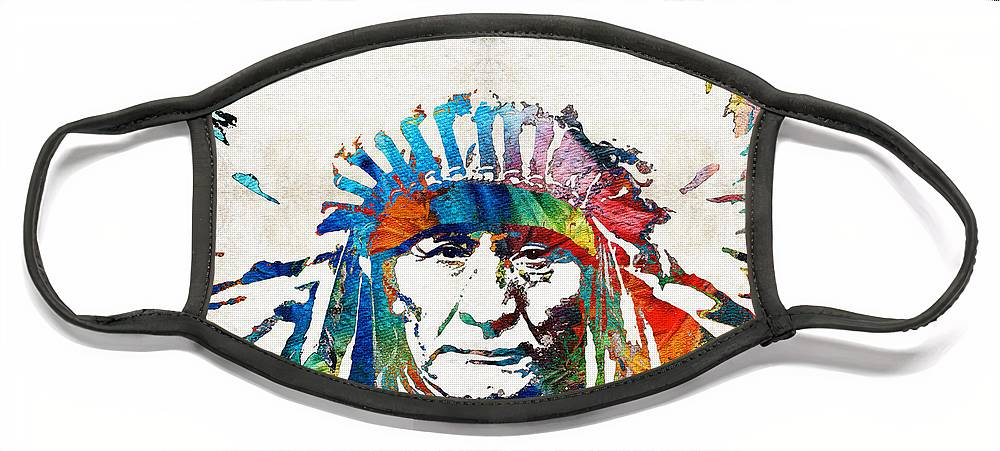 Native American Face Mask featuring the painting Native American Art - Chief - By Sharon Cummings by Sharon Cummings