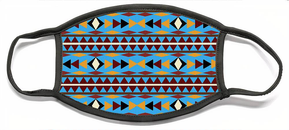 Navajo Face Mask featuring the mixed media Navajo Blue Pattern by Christina Rollo