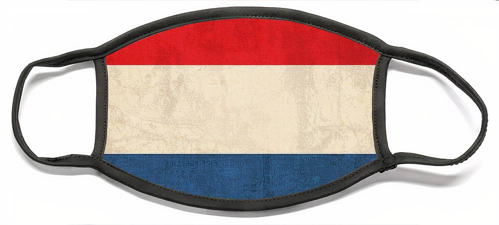 Netherlands Flag Vintage Distressed Finish Holland Europe Country Nation Dutch Face Mask featuring the mixed media Netherlands Flag Vintage Distressed Finish by Design Turnpike