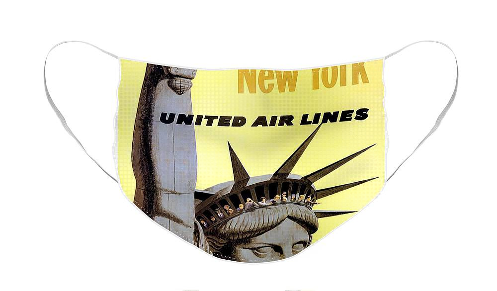 Advertisement Face Mask featuring the drawing New York Vintage Travel Poster by Jon Neidert