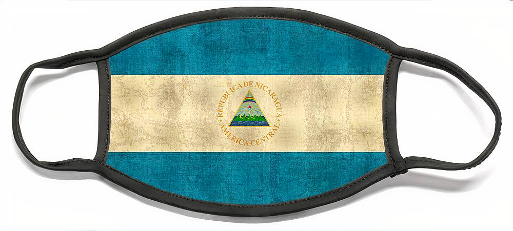 Nicaragua Face Mask featuring the mixed media Nicaragua Flag Vintage Distressed Finish by Design Turnpike