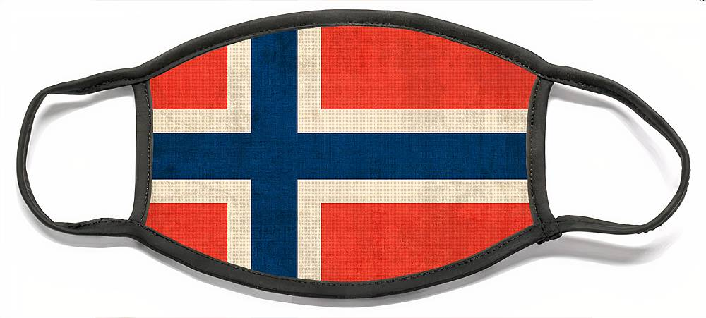 Norway Flag Distressed Vintage Finish Norwegian Oslo Scandinavian Europe Country Nation Face Mask featuring the mixed media Norway Flag Distressed Vintage Finish by Design Turnpike