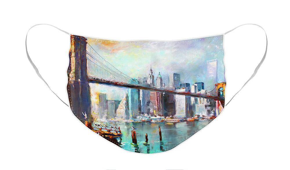 Nyc Face Mask featuring the painting NY City Brooklyn Bridge II by Ylli Haruni