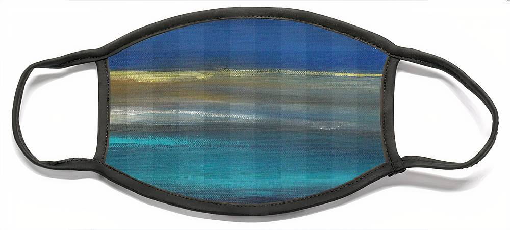 Abstract Painting Face Mask featuring the painting Ocean Blue 2 by Linda Woods