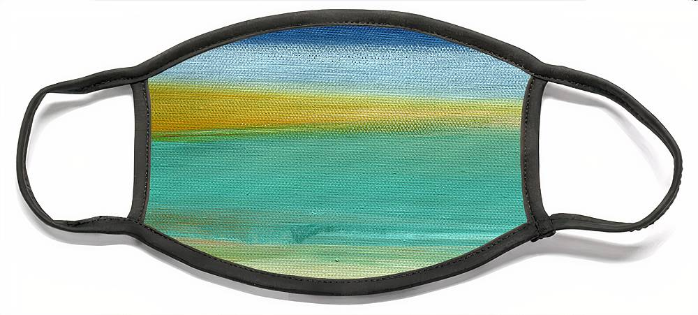 Abstract Face Mask featuring the painting Ocean Blue 3- Art by Linda Woods by Linda Woods