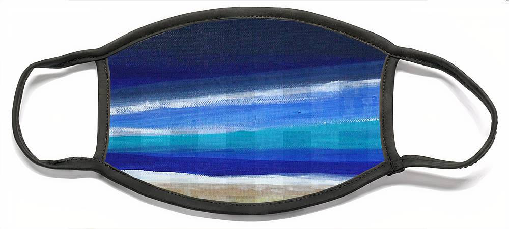 Abstract Painting Face Mask featuring the painting Ocean Blue by Linda Woods