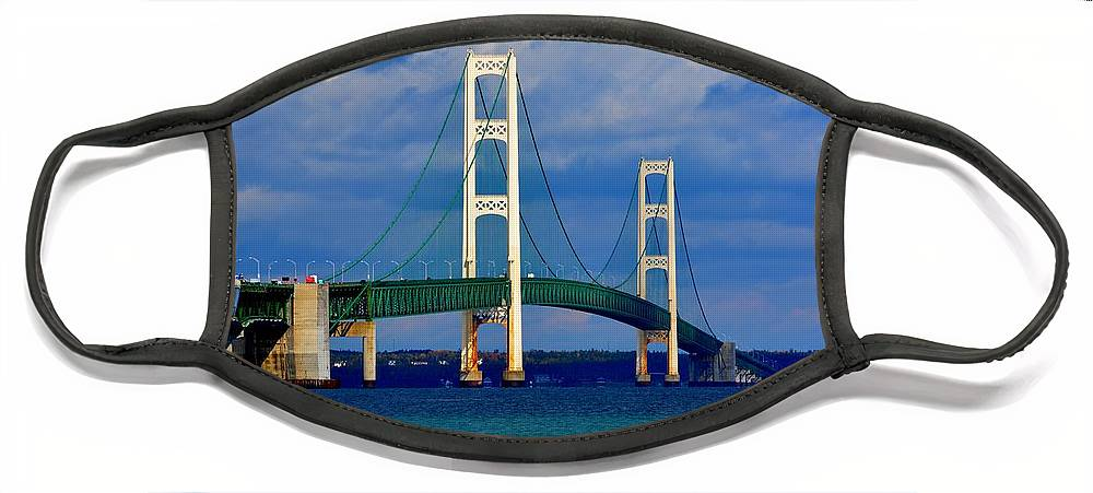 Michigan Face Mask featuring the photograph October Sky Mackinac Bridge by Keith Stokes