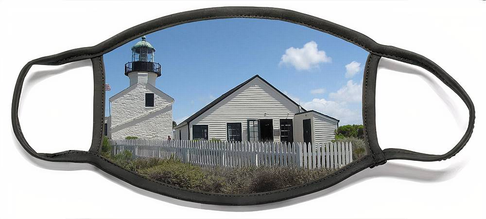 Lighthouse Face Mask featuring the photograph Old Point Loma Lighthouse 1 by Cedric Hampton