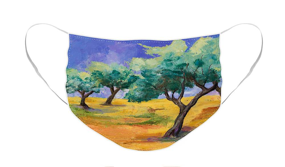 Olive Tree Grove Face Mask featuring the painting Olive Trees Grove by Elise Palmigiani