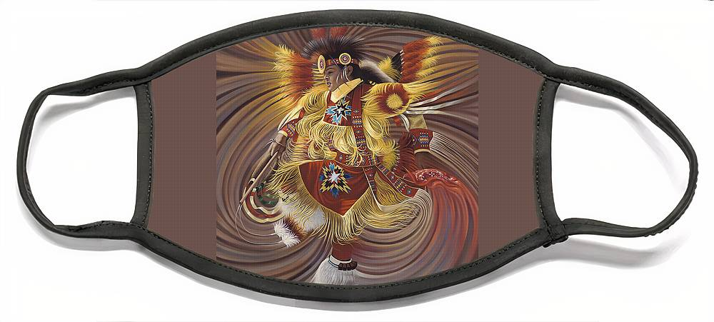 Sacred Face Mask featuring the painting On Sacred Ground Series 4 by Ricardo Chavez-Mendez