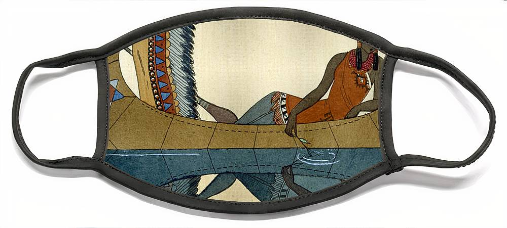 Le Long Du Missouri Face Mask featuring the painting On the Missouri by Georges Barbier