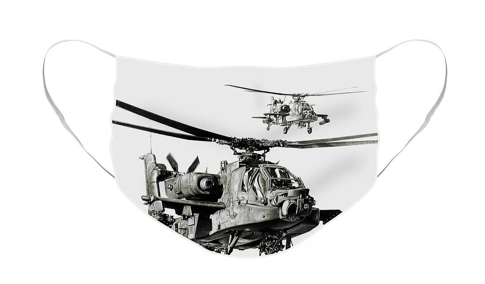 Attack Helicopter Face Mask featuring the drawing On The Way by Murray Jones