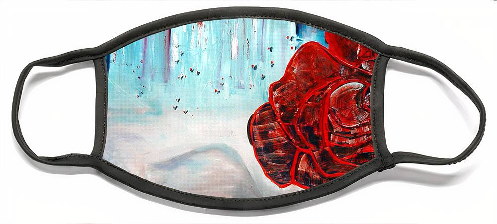 Landscape Face Mask featuring the painting OP and rose by Peggy Blood