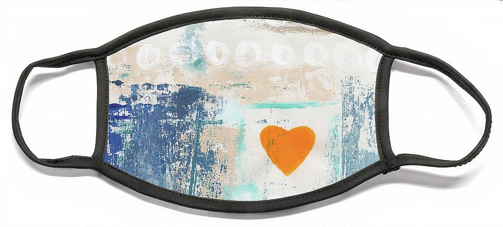 Heart Face Mask featuring the painting Orange Heart- abstract painting by Linda Woods
