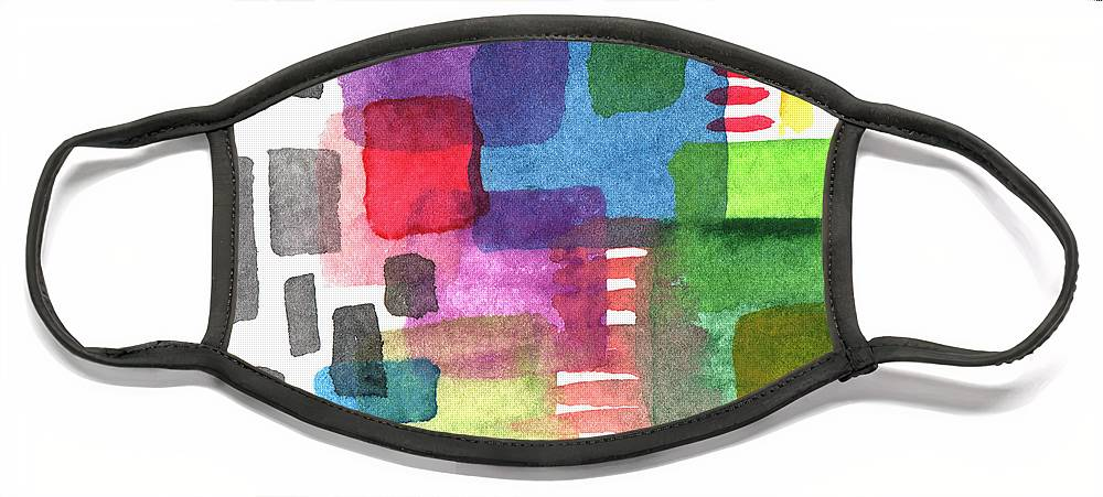 Squares Face Mask featuring the painting Out Of The Box by Linda Woods
