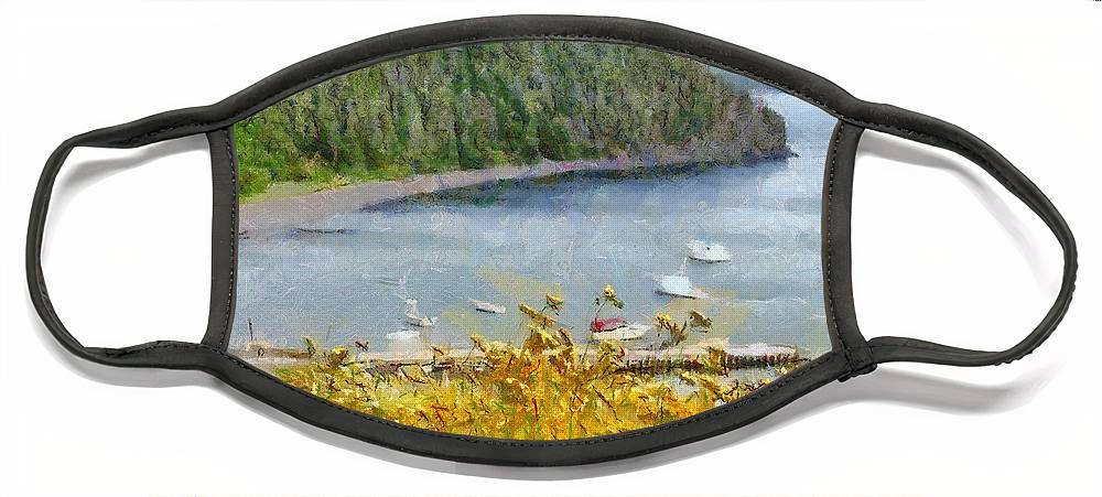 Canadian Face Mask featuring the painting Overlooking the Harbor by Jeffrey Kolker