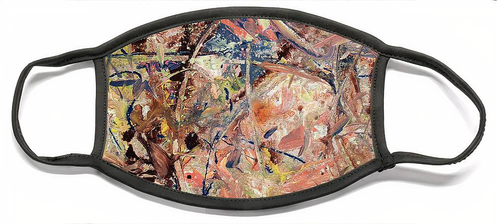 Abstract Face Mask featuring the painting Paint number 53 by James W Johnson