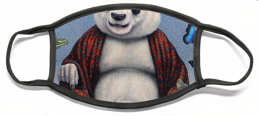 Panda Face Mask featuring the painting Panda Buddha by James W Johnson
